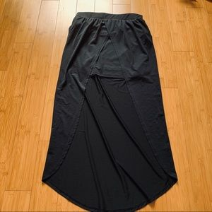 bongo long black high low skirt with open front